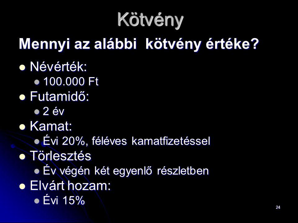 Kötvény Mennyi az alábbi kötvény értéke Névérték: Futamidő: Kamat: