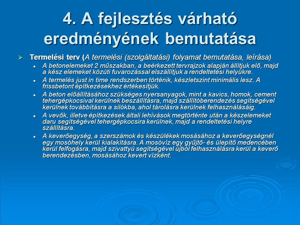 4. A fejlesztés várható eredményének bemutatása