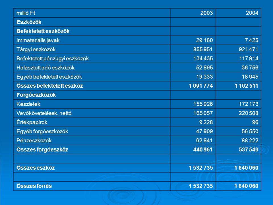 millió Ft 2003. 2004. Eszközök. Befektetett eszközök. Immateriális javak. 29 160. 7 425. Tárgyi eszközök.