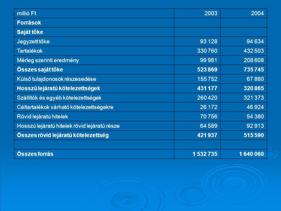 millió Ft 2003. 2004. Források. Saját tőke. Jegyzett tőke. 93 128. 94 634. Tartalékok. 330 760.