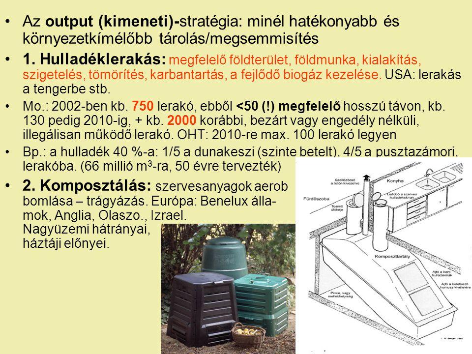 Az output (kimeneti)-stratégia: minél hatékonyabb és környezetkímélőbb tárolás/megsemmisítés