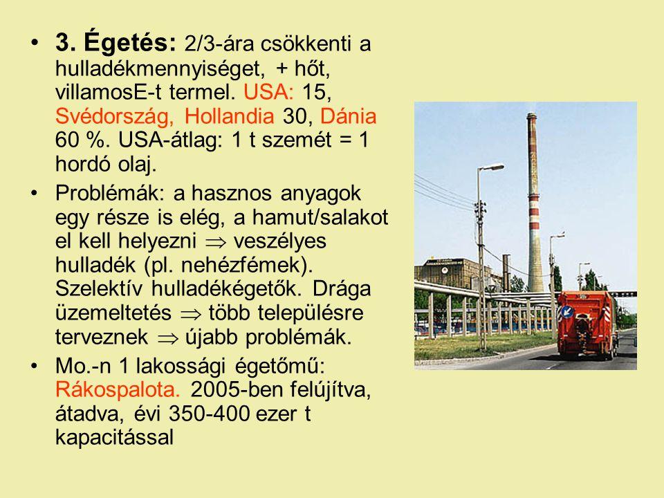 3. Égetés: 2/3-ára csökkenti a hulladékmennyiséget, + hőt, villamosE-t termel. USA: 15, Svédország, Hollandia 30, Dánia 60 %. USA-átlag: 1 t szemét = 1 hordó olaj.