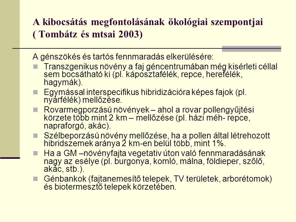 A kibocsátás megfontolásának ökológiai szempontjai ( Tombátz és mtsai 2003)