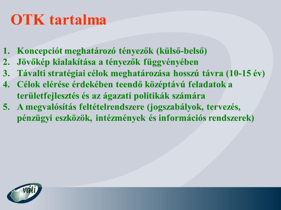 OTK tartalma Koncepciót meghatározó tényezők (külső-belső)