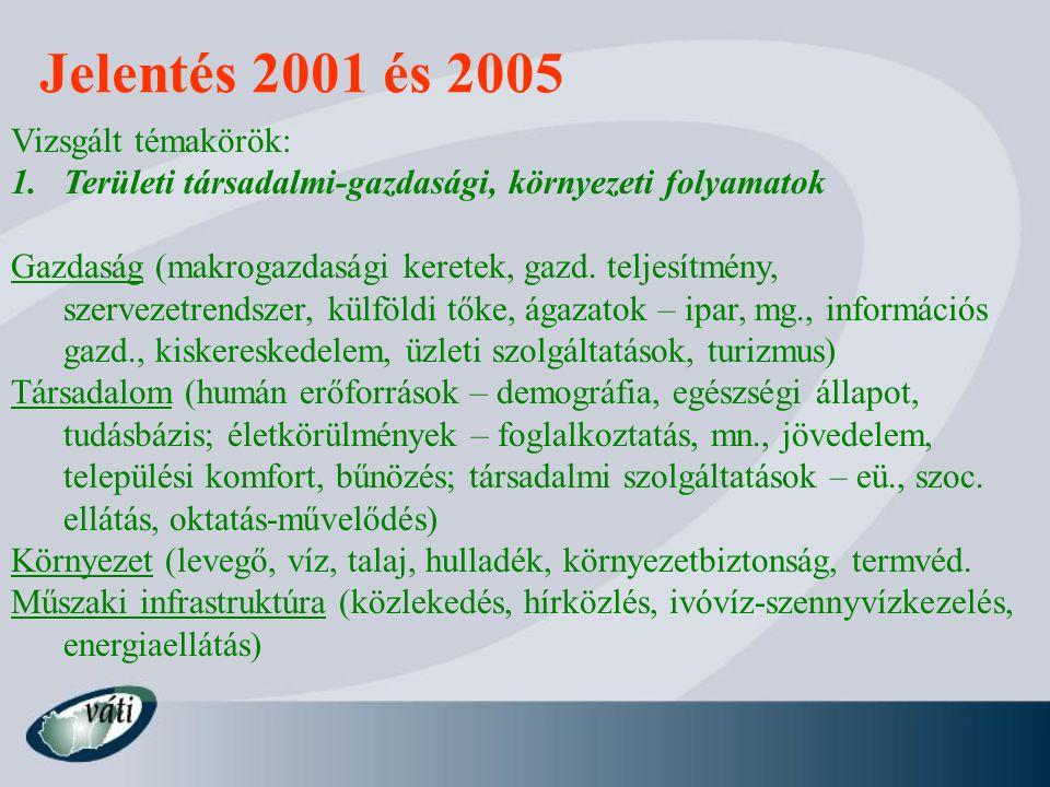 Jelentés 2001 és 2005 Vizsgált témakörök: