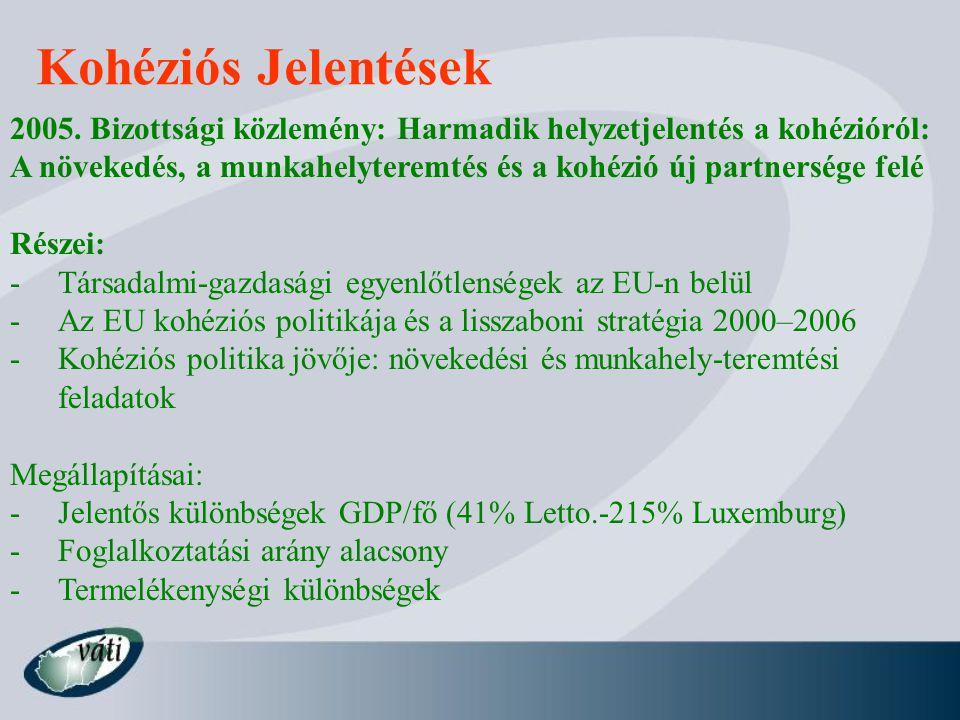 Kohéziós Jelentések 2005. Bizottsági közlemény: Harmadik helyzetjelentés a kohézióról:
