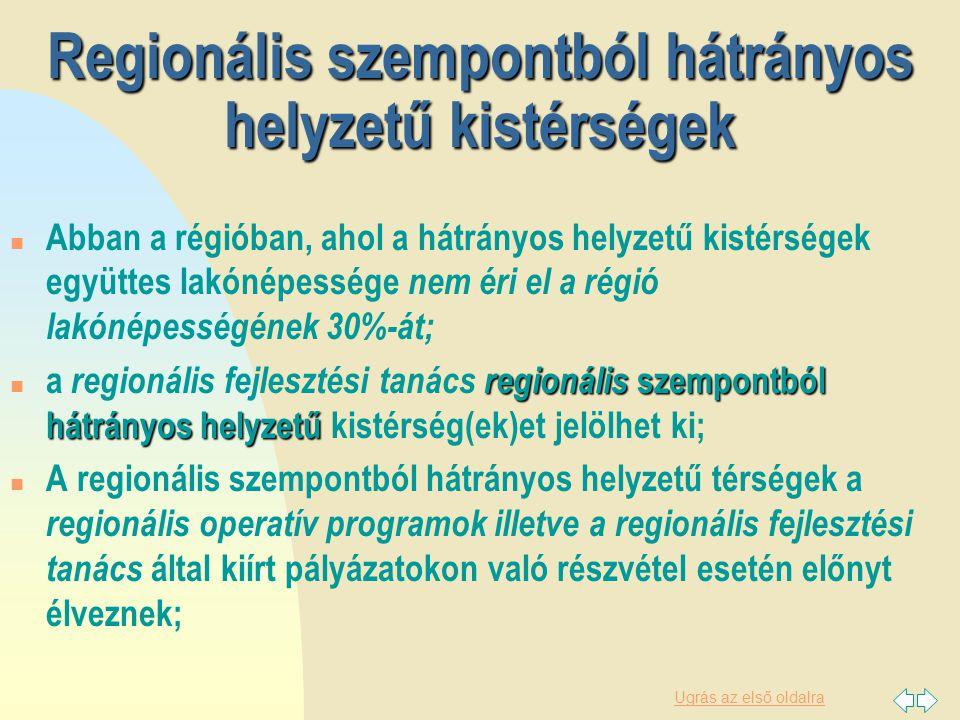Regionális szempontból hátrányos helyzetű kistérségek