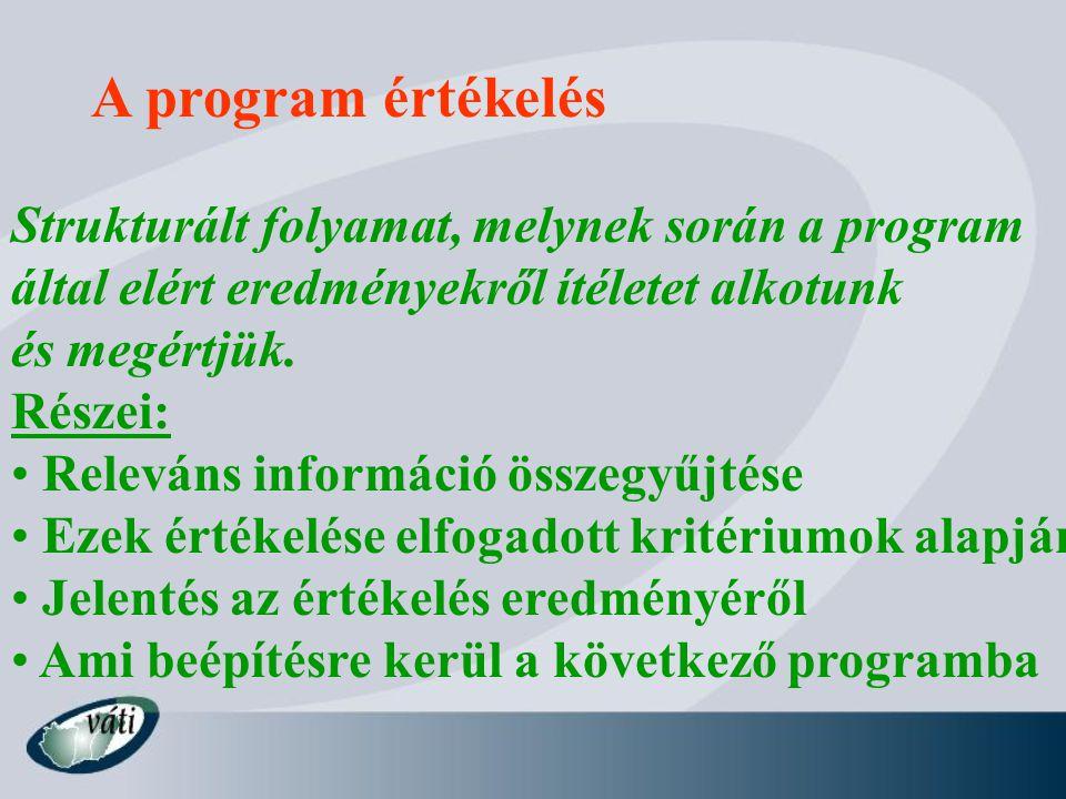 A program értékelés Strukturált folyamat, melynek során a program