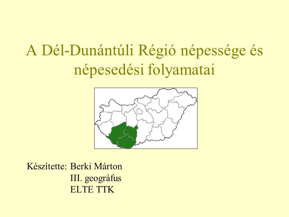 A Dél-Dunántúli Régió népessége és népesedési folyamatai