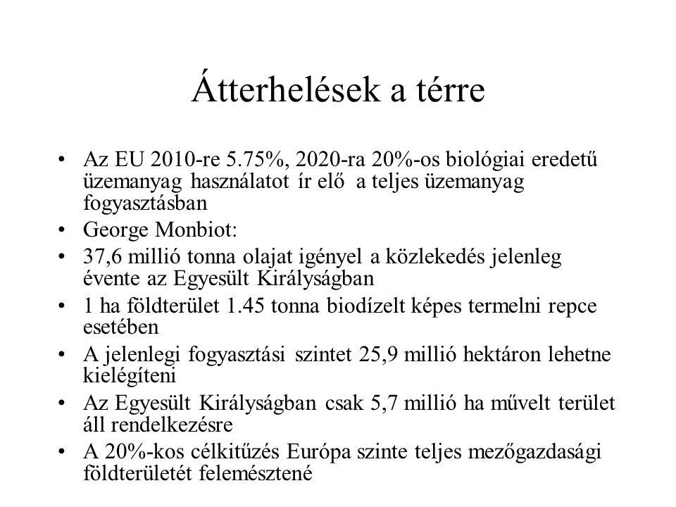 Átterhelések a térre Az EU 2010-re 5.75%, 2020-ra 20%-os biológiai eredetű üzemanyag használatot ír elő a teljes üzemanyag fogyasztásban.