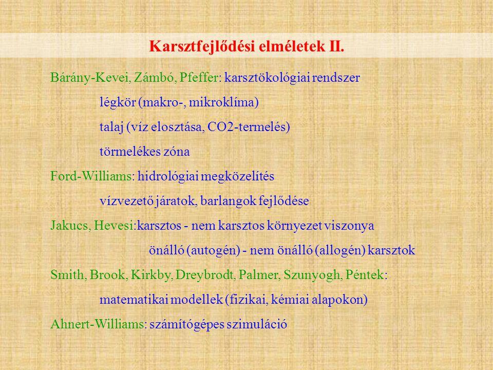 Karsztfejlődési elméletek II.
