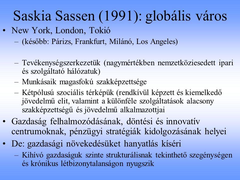 Saskia Sassen (1991): globális város