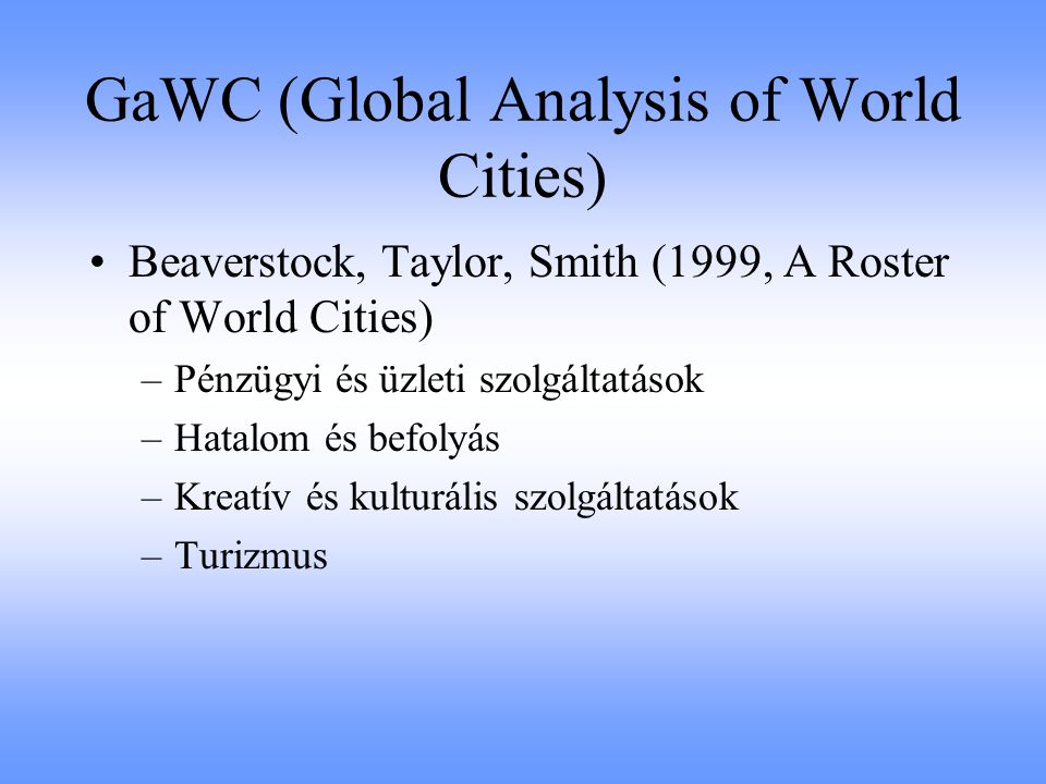 GaWC (Global Analysis of World Cities)