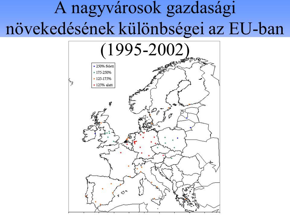 A nagyvárosok gazdasági növekedésének különbségei az EU-ban (1995-2002)