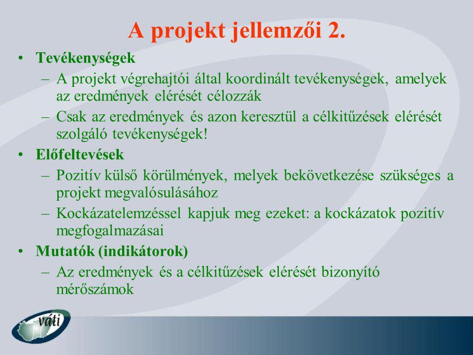 A projekt jellemzői 2. Tevékenységek