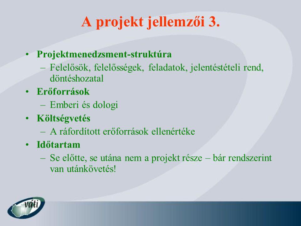 A projekt jellemzői 3. Projektmenedzsment-struktúra