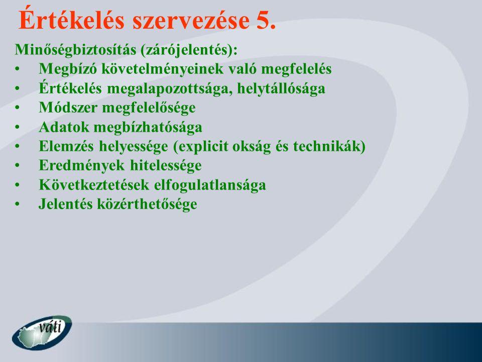 Értékelés szervezése 5. Minőségbiztosítás (zárójelentés):