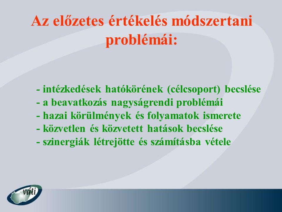 Az előzetes értékelés módszertani problémái: