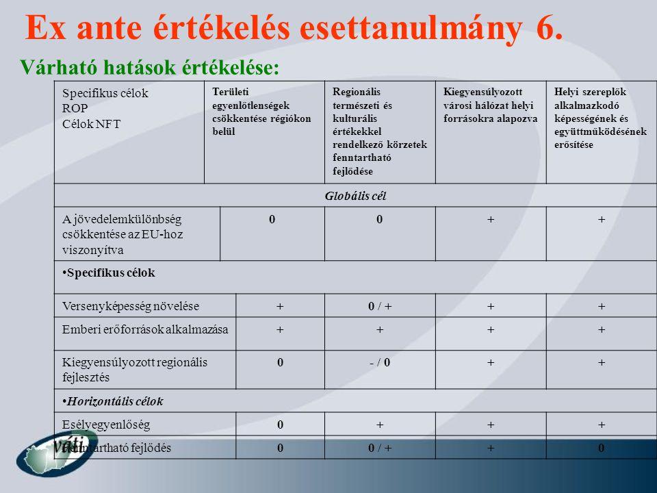 Ex ante értékelés esettanulmány 6.