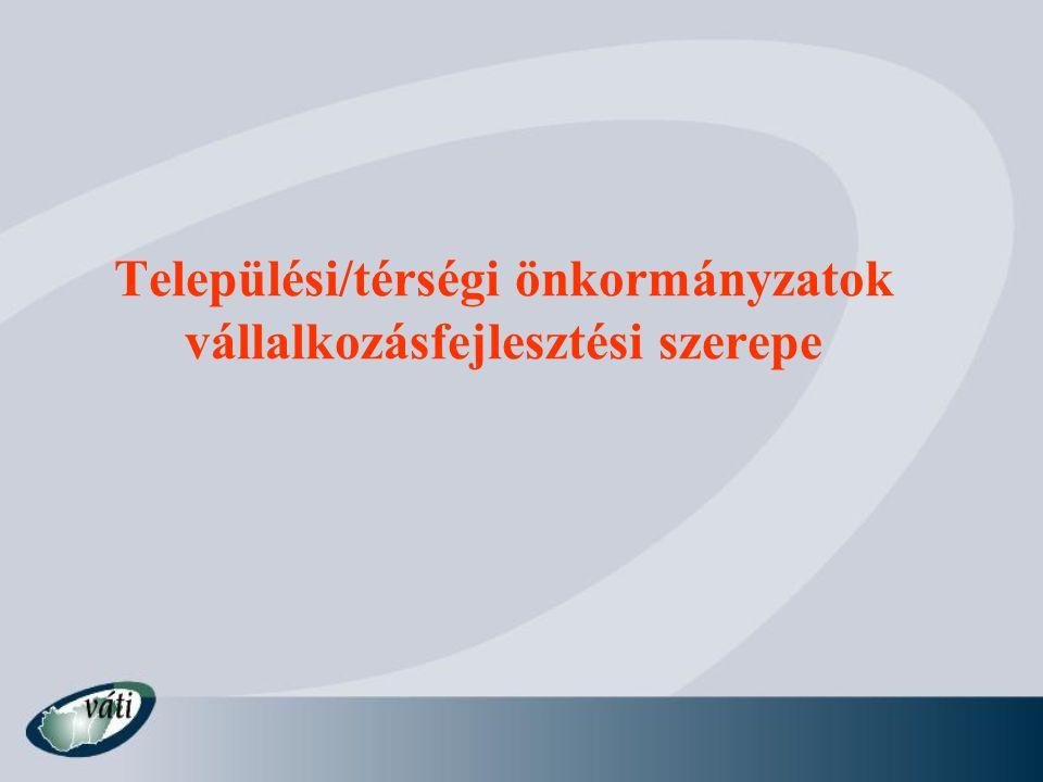 Települési/térségi önkormányzatok vállalkozásfejlesztési szerepe