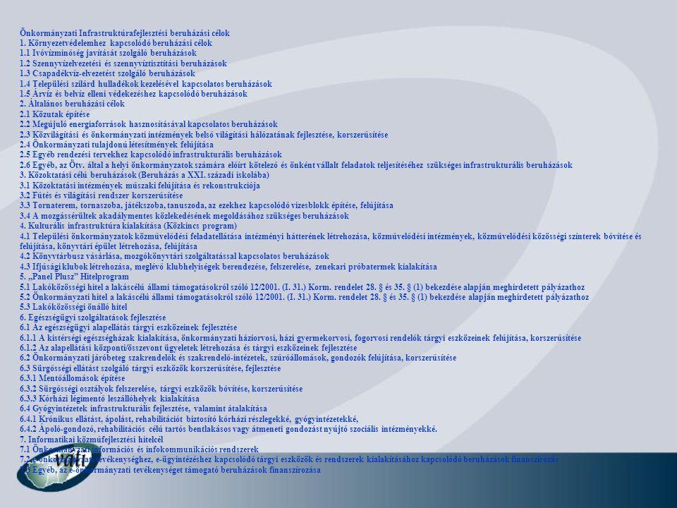 Önkormányzati Infrastruktúrafejlesztési beruházási célok 1