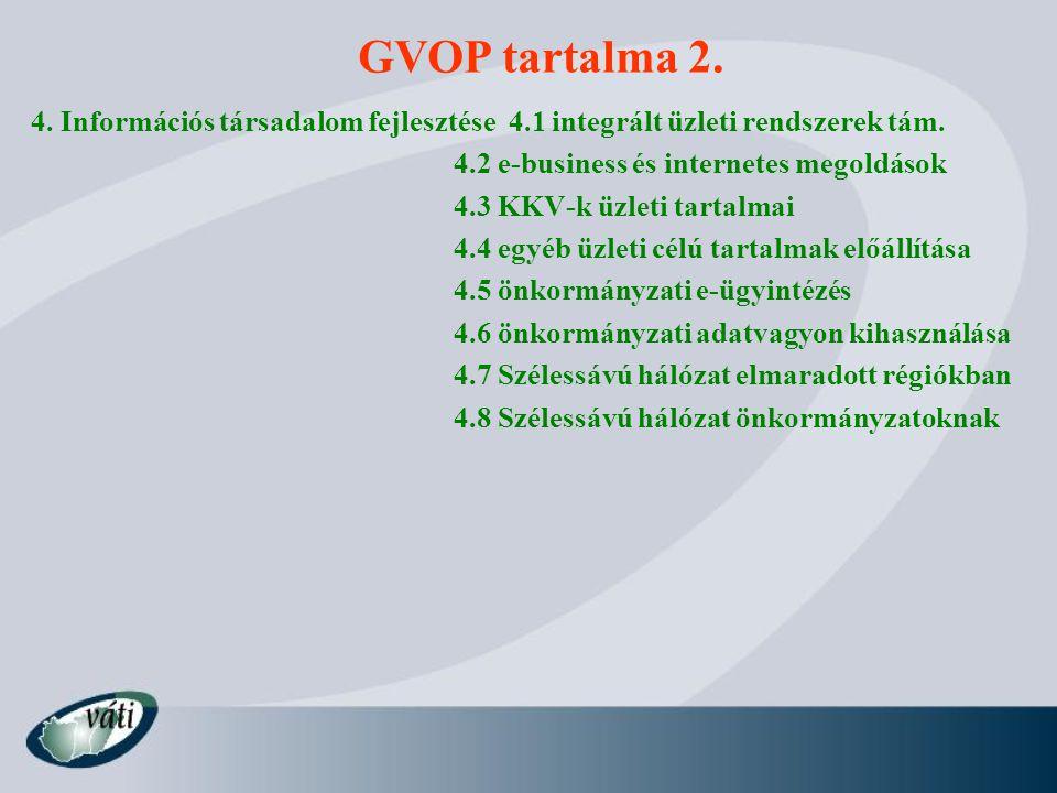 GVOP tartalma 2. 4. Információs társadalom fejlesztése 4.1 integrált üzleti rendszerek tám. 4.2 e-business és internetes megoldások.