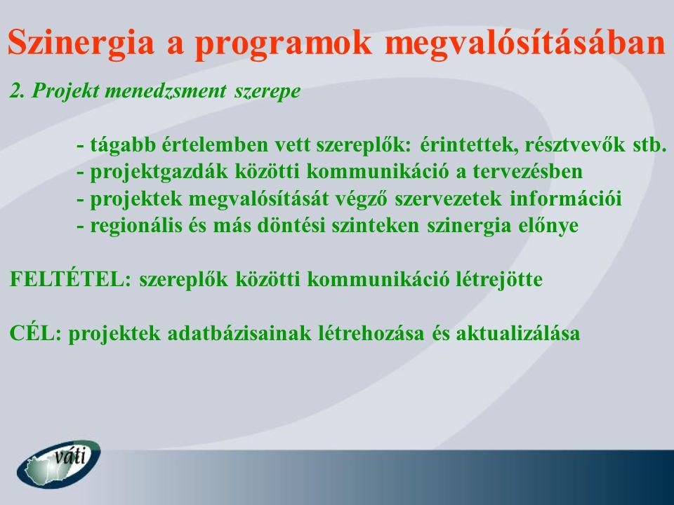 Szinergia a programok megvalósításában