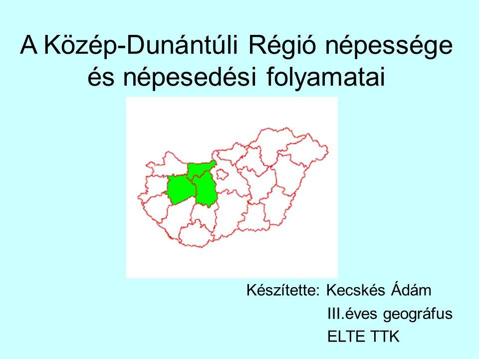 A Közép-Dunántúli Régió népessége és népesedési folyamatai