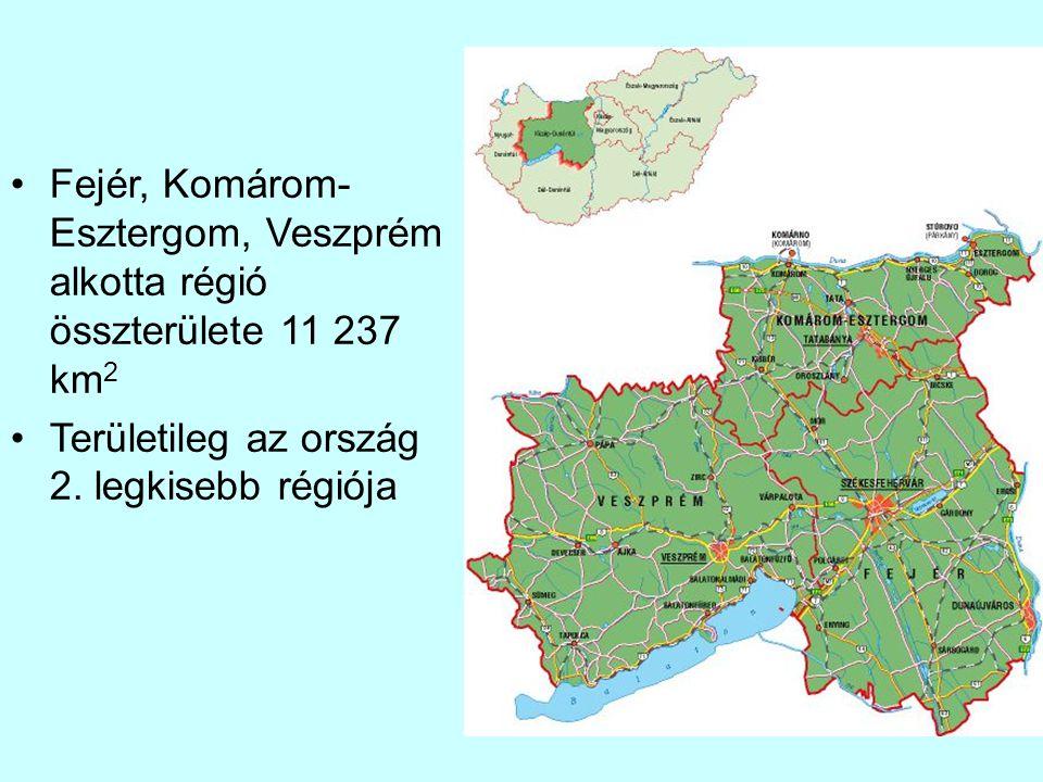 Fejér, Komárom- Esztergom, Veszprém alkotta régió összterülete 11 237 km2