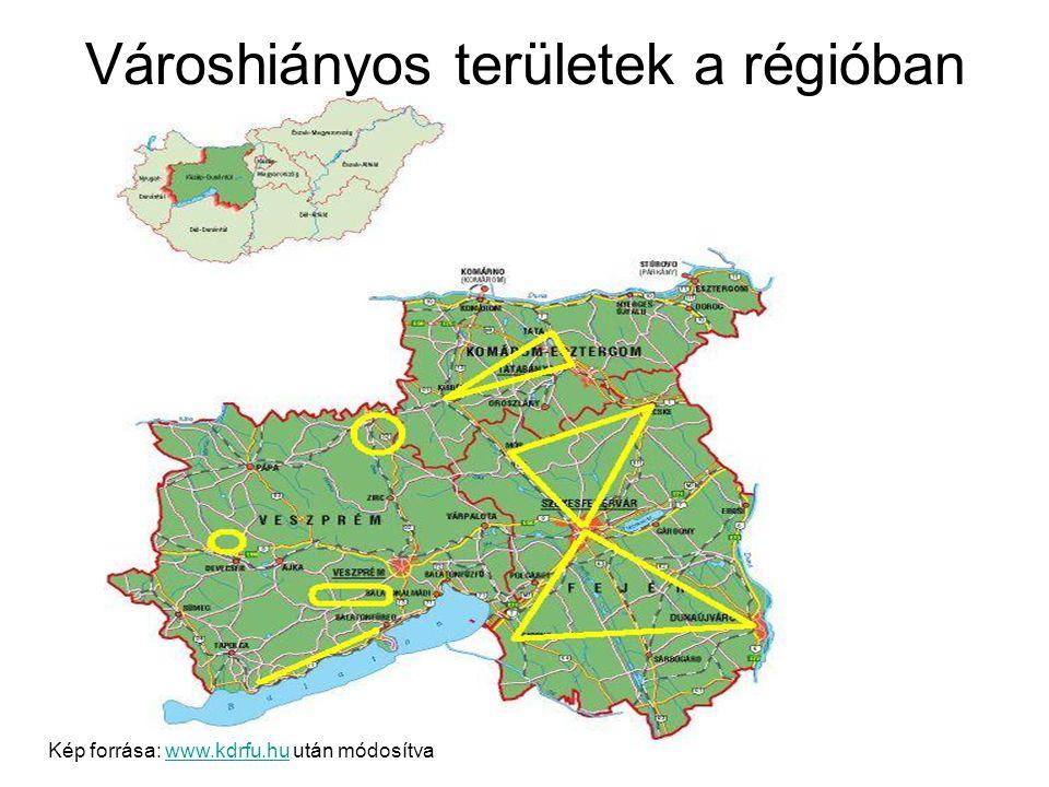 Városhiányos területek a régióban