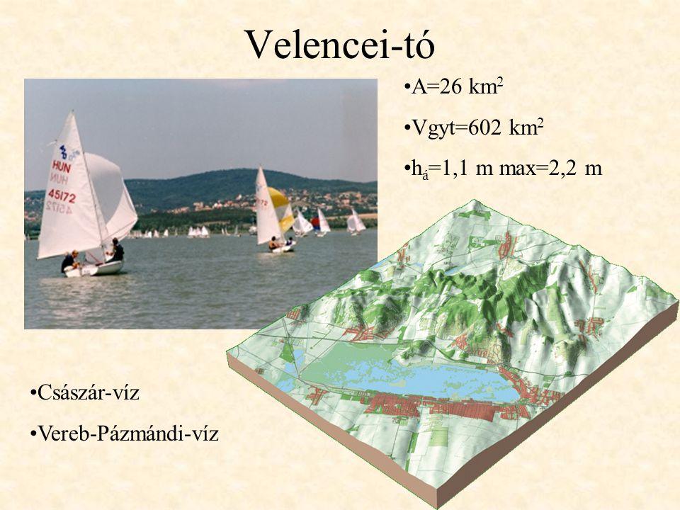 Velencei-tó A=26 km2 Vgyt=602 km2 há=1,1 m max=2,2 m Császár-víz
