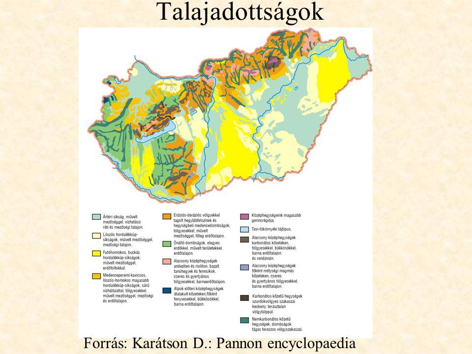 Talajadottságok Forrás: Karátson D.: Pannon encyclopaedia