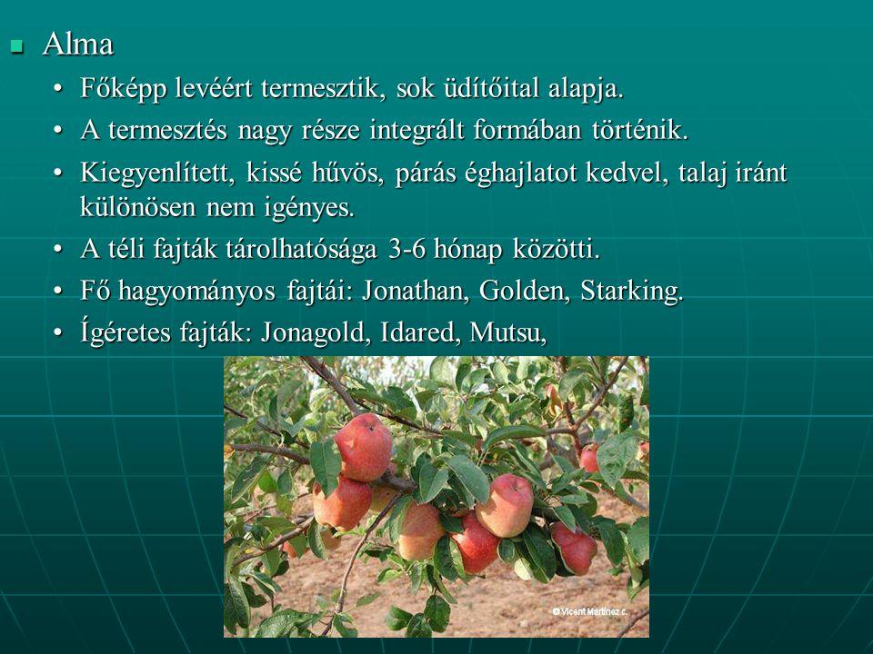 Alma Főképp levéért termesztik, sok üdítőital alapja.
