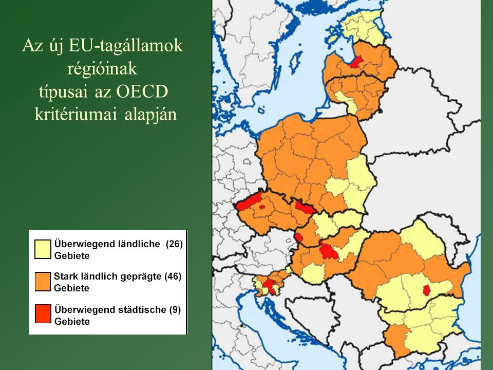 Az új EU-tagállamok régióinak típusai az OECD kritériumai alapján