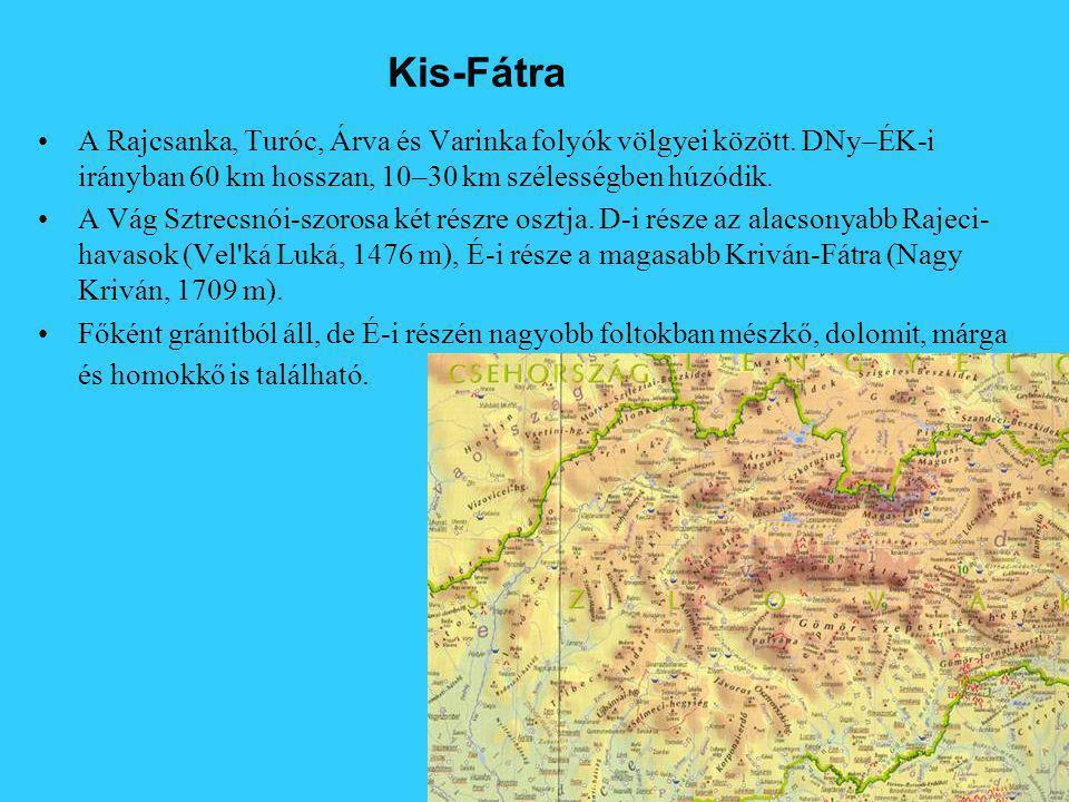 Kis-Fátra A Rajcsanka, Turóc, Árva és Varinka folyók völgyei között. DNy–ÉK-i irányban 60 km hosszan, 10–30 km szélességben húzódik.