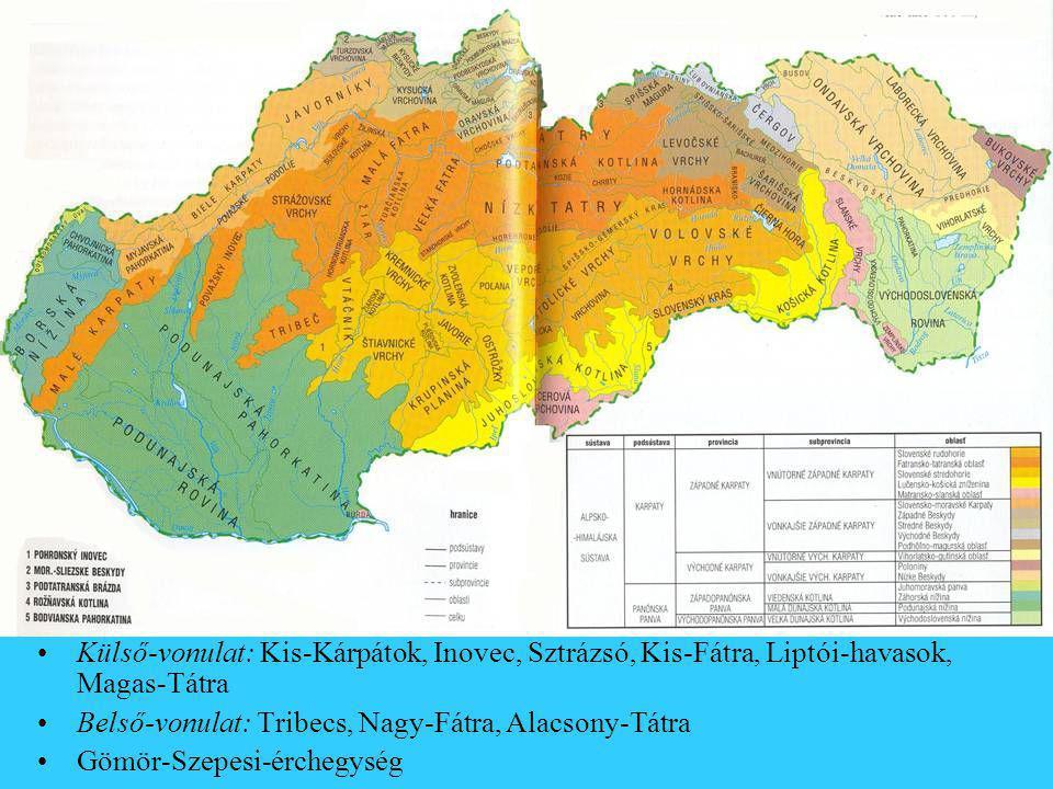 Külső-vonulat: Kis-Kárpátok, Inovec, Sztrázsó, Kis-Fátra, Liptói-havasok, Magas-Tátra