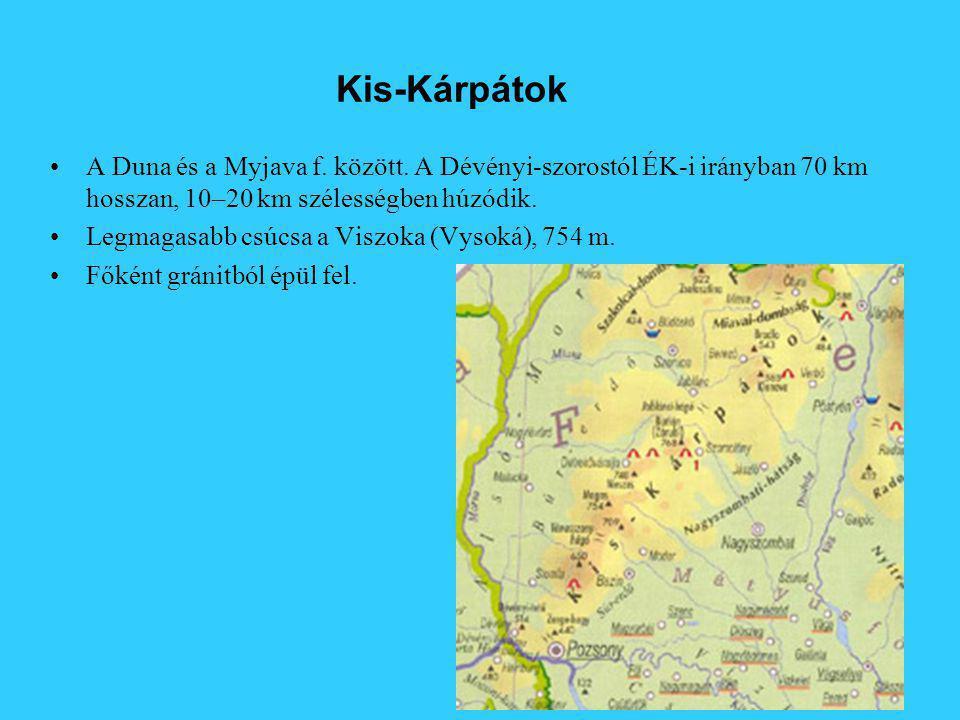 Kis-Kárpátok A Duna és a Myjava f. között. A Dévényi-szorostól ÉK-i irányban 70 km hosszan, 10–20 km szélességben húzódik.