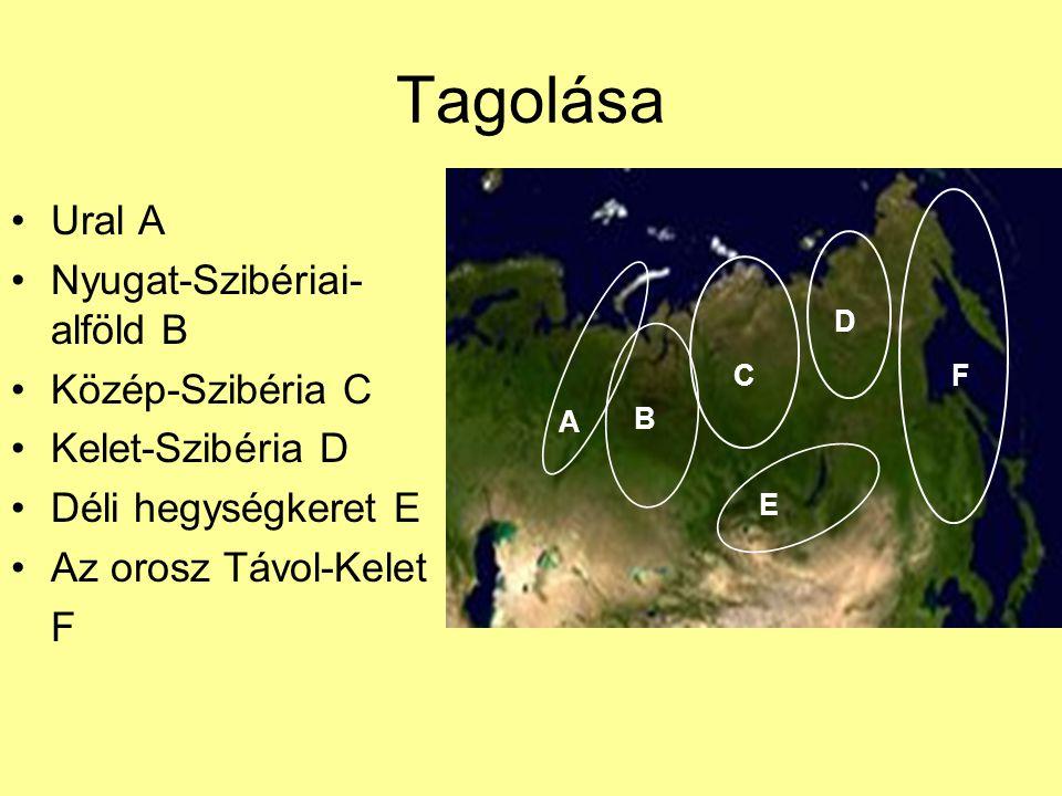 Tagolása Ural A Nyugat-Szibériai-alföld B Közép-Szibéria C