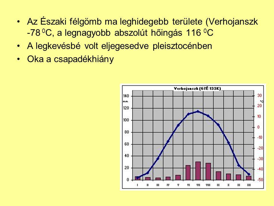 Az Északi félgömb ma leghidegebb területe (Verhojanszk -78 0C, a legnagyobb abszolút hőingás 116 0C