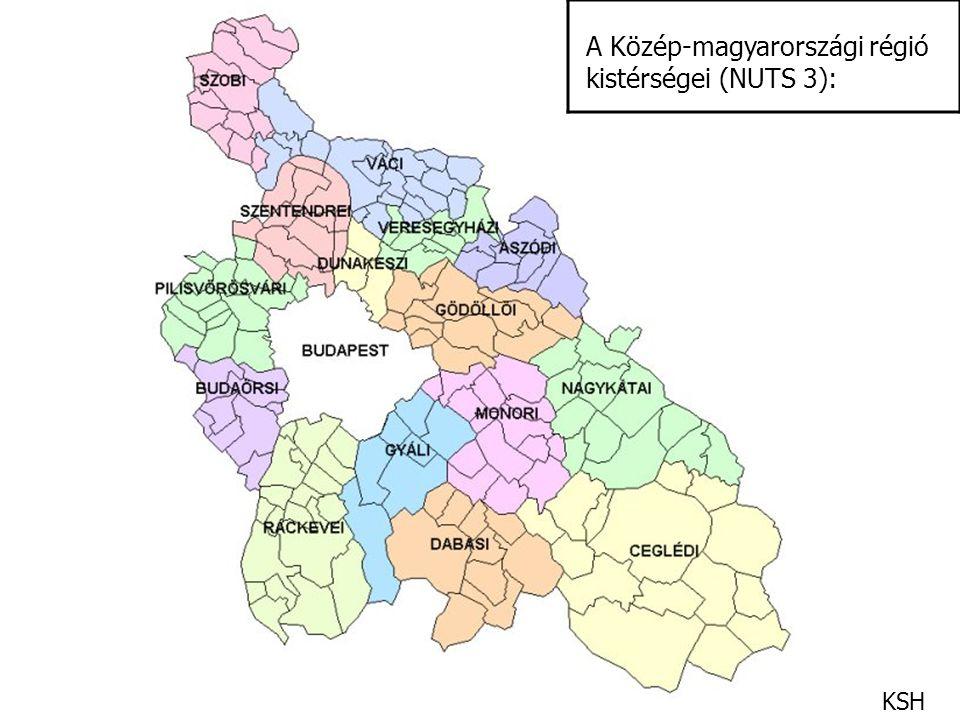 A Közép-magyarországi régió kistérségei (NUTS 3):