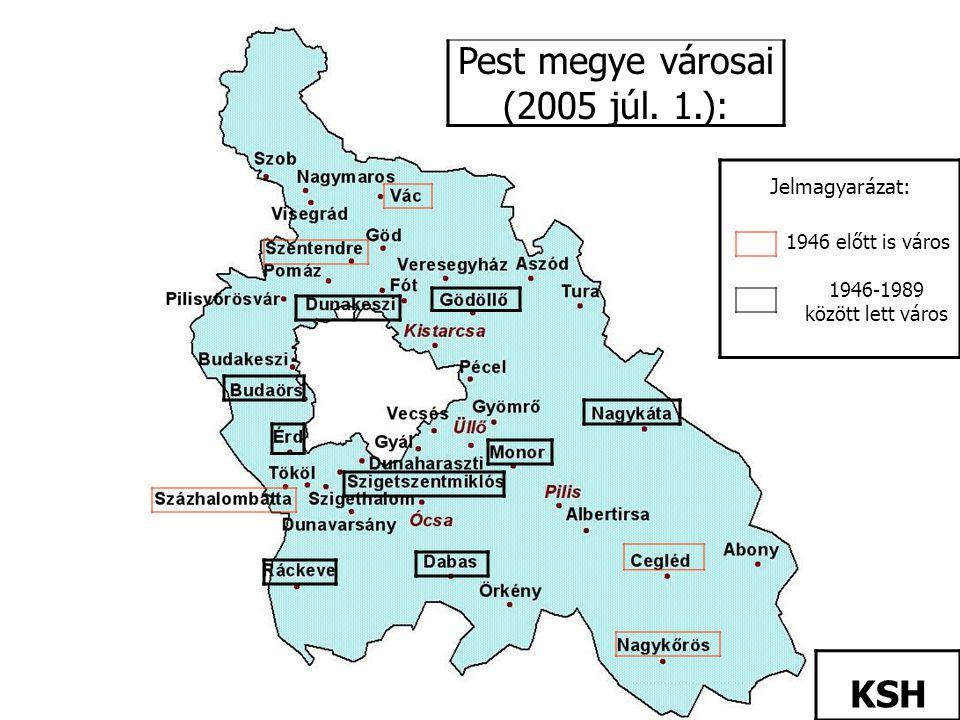 Pest megye városai (2005 júl. 1.):