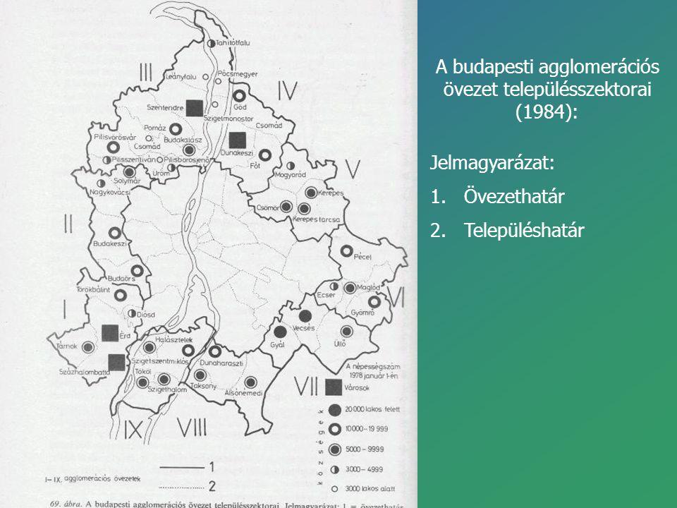 A budapesti agglomerációs övezet településszektorai (1984):