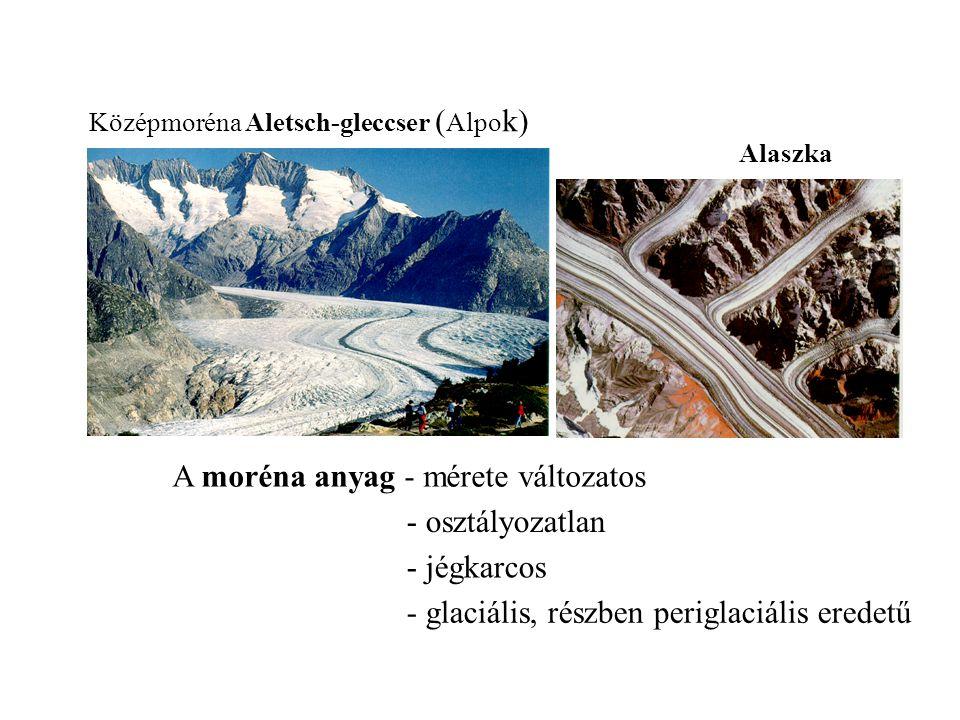 A moréna anyag - mérete változatos - osztályozatlan - jégkarcos