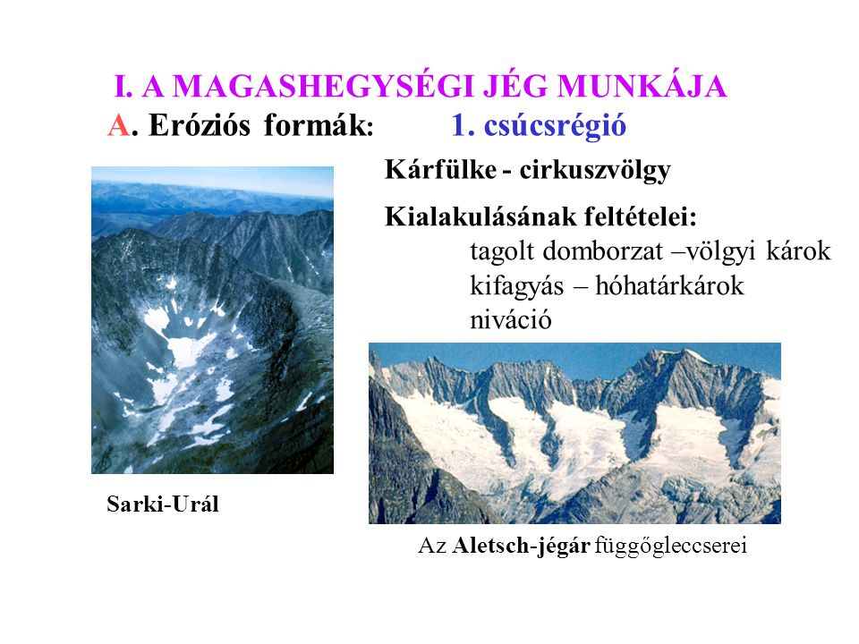 I. A MAGASHEGYSÉGI JÉG MUNKÁJA A. Eróziós formák: 1. csúcsrégió