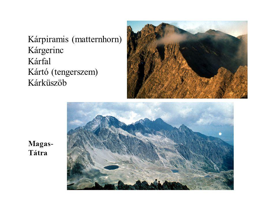 Kárpiramis (matternhorn) Kárgerinc Kárfal