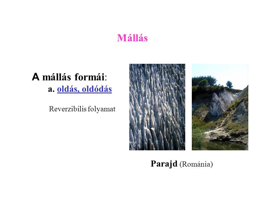 Mállás A mállás formái: a. oldás, oldódás Parajd (Románia)