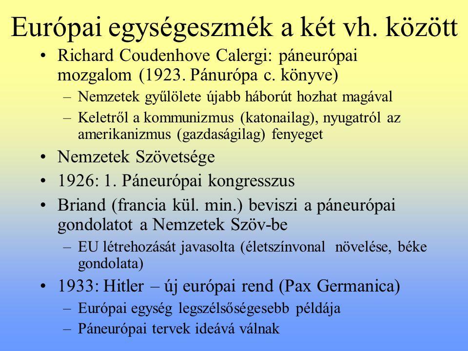 Európai egységeszmék a két vh. között