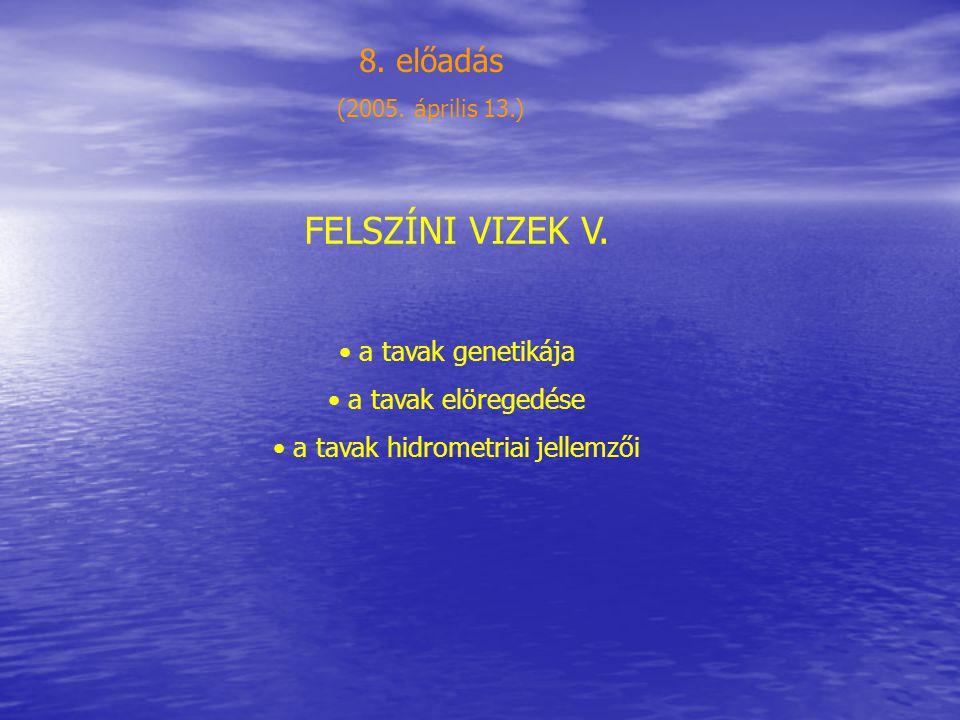 a tavak hidrometriai jellemzői