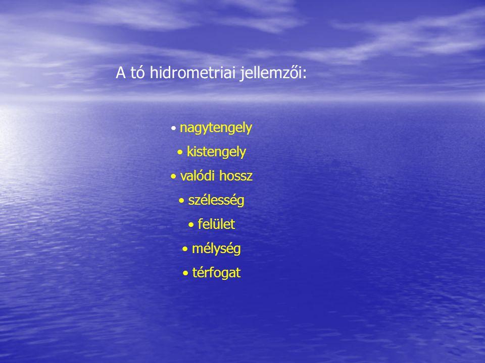 A tó hidrometriai jellemzői:
