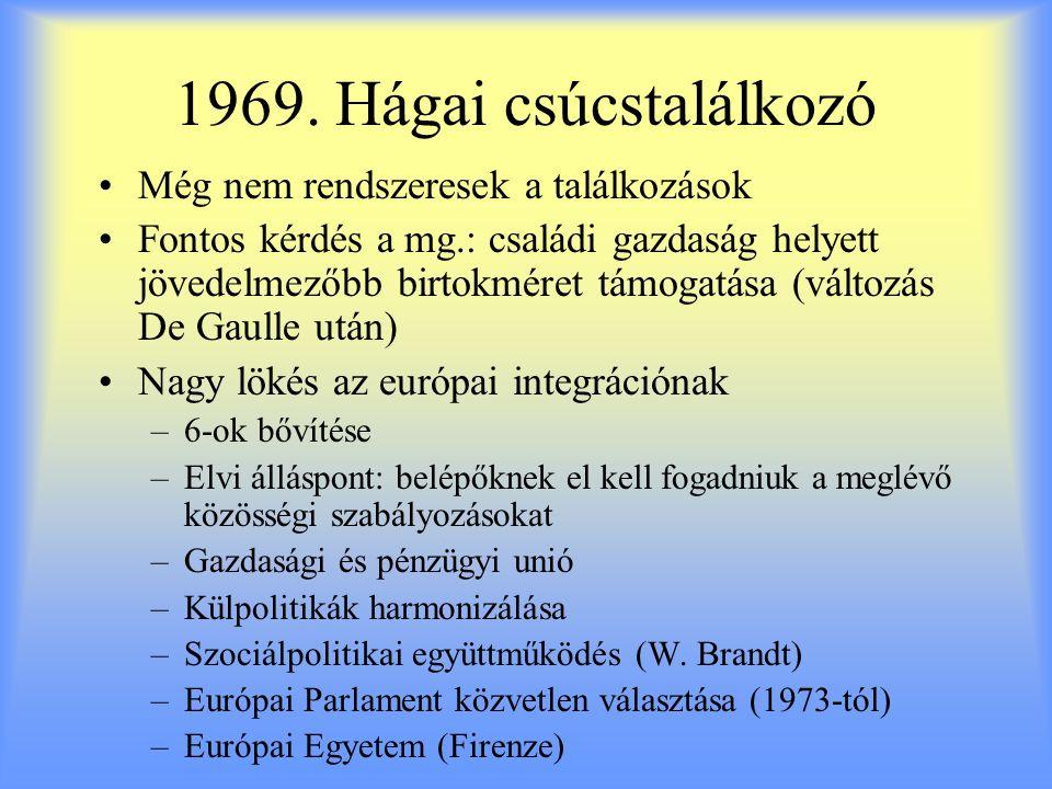 1969. Hágai csúcstalálkozó Még nem rendszeresek a találkozások